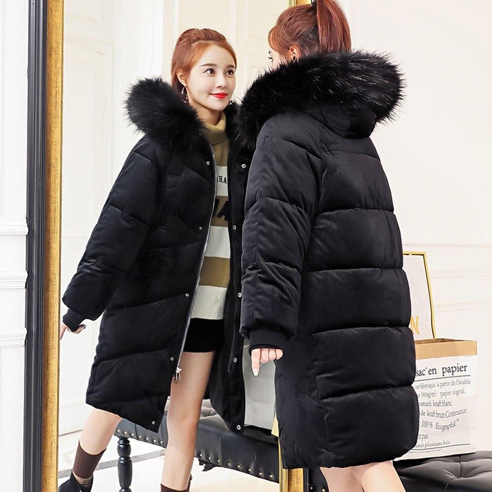 Women Warm Winter Parkas OL Loose Thick Cotton Hooded Zipper Plain Female Down Jackets Fashion Sweet Elegant Pink Overcoats