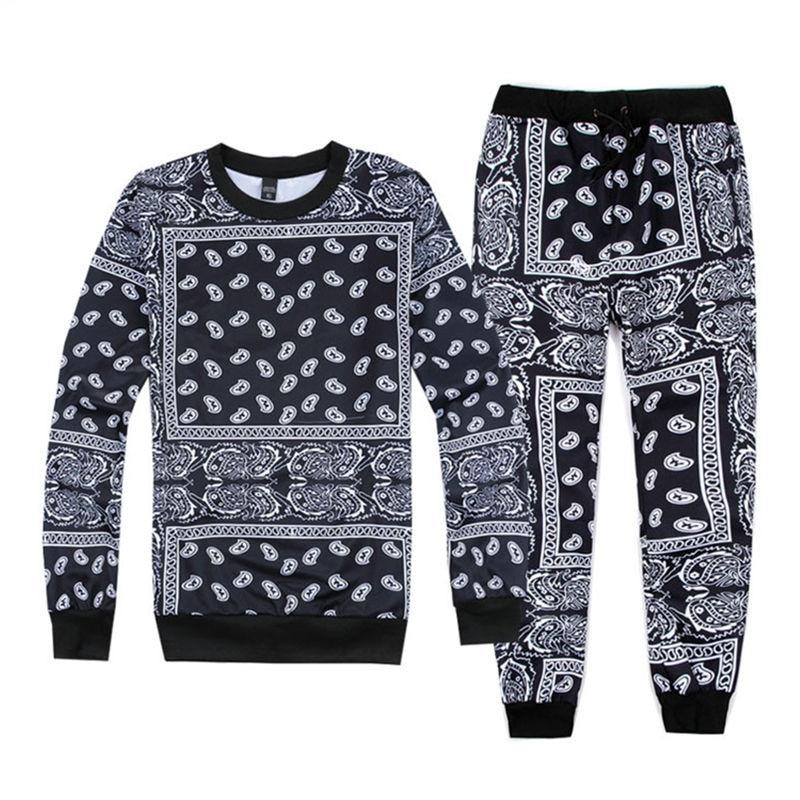 Hip Hop Women/men Jogger Pants&sweatshirt Paisley Graphic Bandana Tracksuit Sweatpants Hoody Cashew Floral Streewear S-XXL R2401