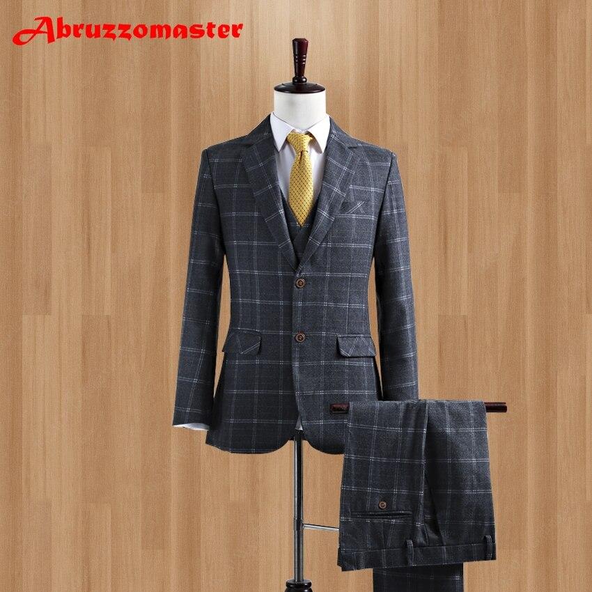 Rigoroso Ultime Mutanda Del Cappotto Progetta Groom Tuxedo Tweed Custom Made Grigio Di Lana Vestito Da Uomo Slim Fit Completo Uomo Blazer (jacket + Pant + Vest)