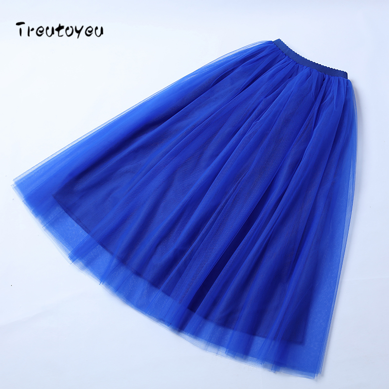 Image 5 - Treutoyeu 5 Layers Maxi Long Women Skirt Tulle Skirts Bridesmaid Wedding Skirt Free Size Faldas Saias Femininas Jupe-in Skirts from Women's Clothing
