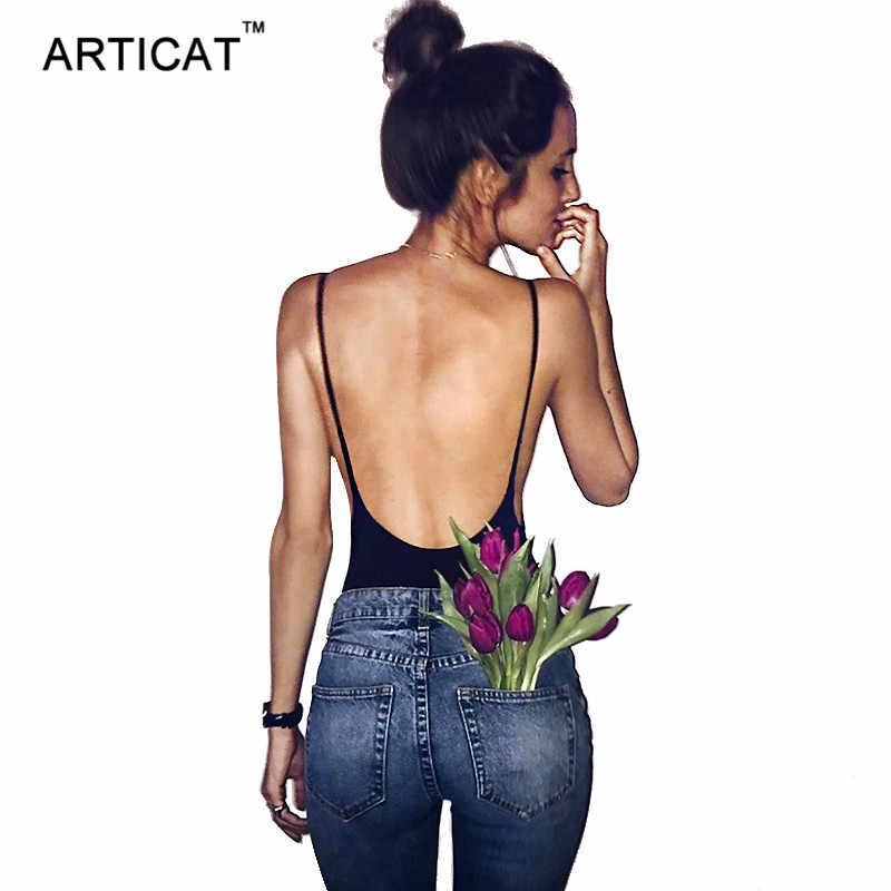 Articat Sexy body sin espalda para mujer monos largos de verano negro correa sin mangas Cami Bodysuit camisetas Mono corto