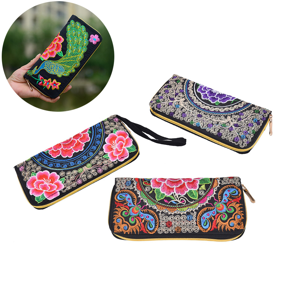 Long Wallet Vintage Handbag Purse Clutch Embroidery Women Linen National Foral Party-Day