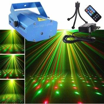 1492a8f89a9 AUCD Mini azul Shell portátil control remoto IR RG meteoro láser proyector  luces de DJ KTV Casa de fiesta de Navidad Dsico de iluminación de escenario