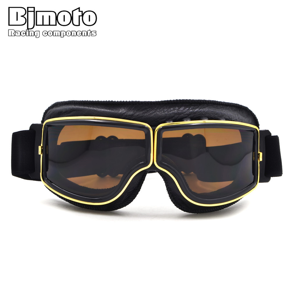 BJMOTO Motorcycle Goggles WWII Vintage for Harley style font b Pilot b font Motorbike goggles Retro