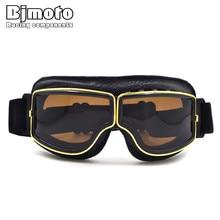 BJMOTO Motorcycle Goggles WWII Vintage for Harley style Pilot Motorbike goggles Retro Jet Helmet Eyewear 3 color Frame