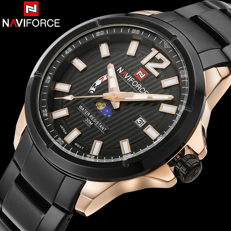 Men Sport Watches NAVIFORCE Men Quartz Watch Steel Band Hot Brand Calender Wristwatches For Men 30M Waterproof Relogio Masculino