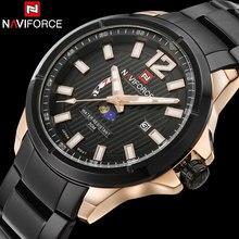 Naviforce deporte de los hombres relojes de los hombres reloj de cuarzo banda de acero caliente marca calendario relojes de pulsera para hombres 30 m impermeable relogio masculino