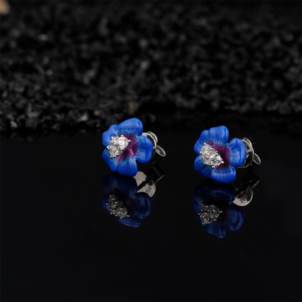 Image 4 - SANTUZZA Silver Earrings For Women 925 Sterling Silver Stud Flower Earrings Blue Flower Cubic Zirconia brincos Jewelry enamel-in Stud Earrings from Jewelry & Accessories