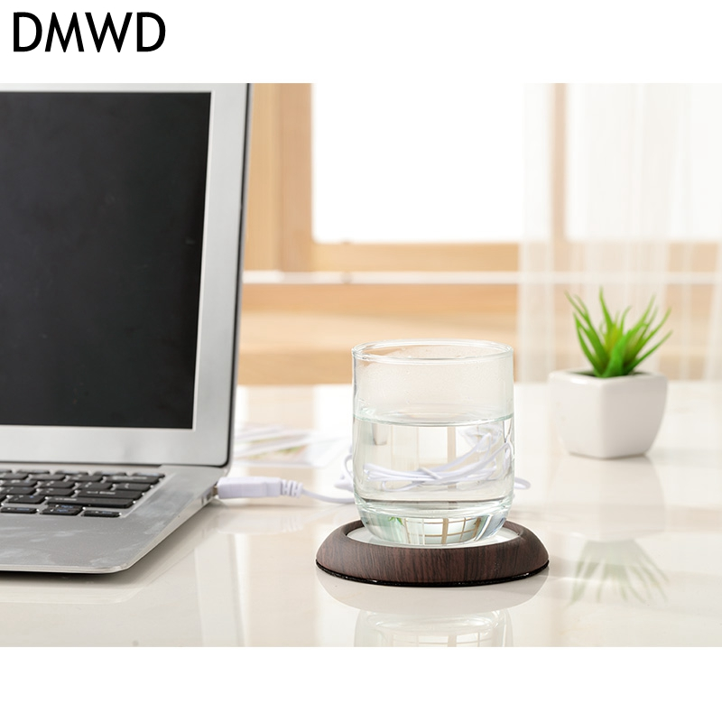 DMWD Electric USB Cup Warmer Hot Plate Milk Tea Coffee heater portable 5V Metal Heating Pad Mat Warm Wood /Marbled color high quality office house use usb powered tea coffee milk cup mug warmer heater pad