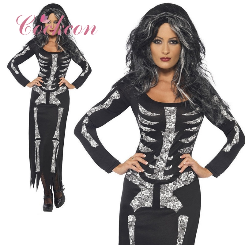 US $1.37 24% OFF|Plus Size 2XL Halloween Dress Skeleton Print Scary Horror  Costumes Play New Ghost Clothes Strech Party Cosplay Long Dress V1-in Scary  ...