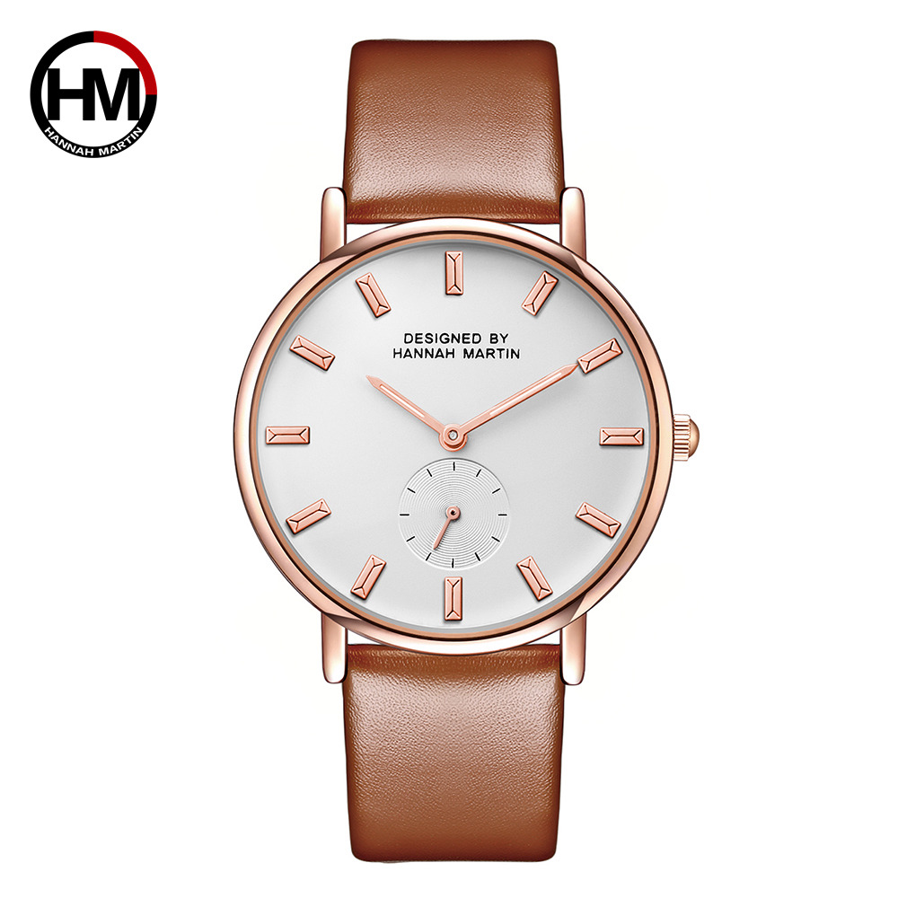 New women Luxury Brand quartz xfcs dw clock Ladies rose gold brown watches with Small second dial wrok horloges vrouwen uhren gold second