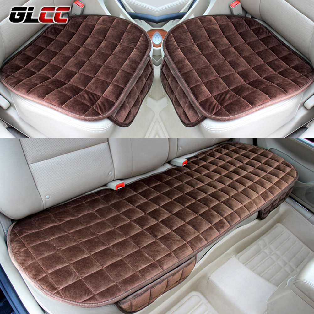 3 pcs/set Car Seat Cover Cushion Soft Silk Velvet Seat For Front Back Seat Chair Winter Warm Seat Covers S/M/L With Pocket for mercedes benz c200 e260 e300 a s series ml350 glk brand leather car seat cover front and back complete set car cushion cover