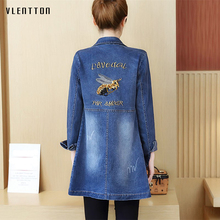 2019 New Jean jacket Casual Plus Size Embroidery Long denim jacket Long sleeve Spring autumn women's slim coat bomber jacket appliques long sleeve bomber jacket