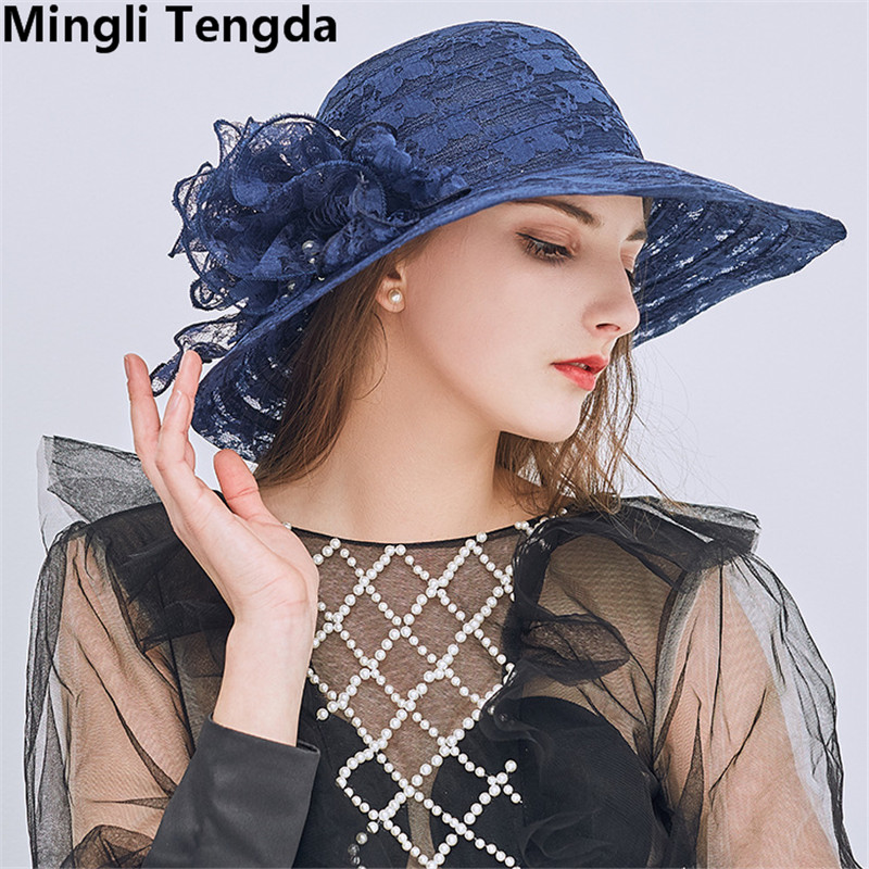 cbc91ff3b8aa4 Mingli Tengda Lace Elegant Wedding Hat Big Bridal Hats White Light Pink Wedding  Hats and Fascinators Simple Wedding Accessories