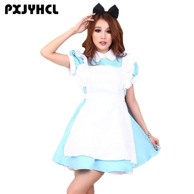 Adult Alice in Wonderland Costume Lolita Blue Dress Maid Uniform Fantasia Anime Cosplay Carnival Halloween Costumes For Women