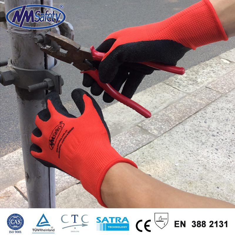 NMSafety brand new arrived 4 pairs red rubber work glove,colored latex gloves,cheap prices