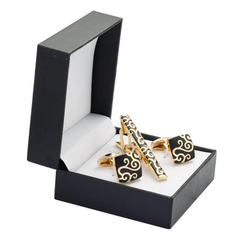 A Set Of High Quality French Shirt Cuff Cuff Gold Cufflinks Tie Clip Box Auspicious Clouds Wedding Gift Set Men Free Shipping