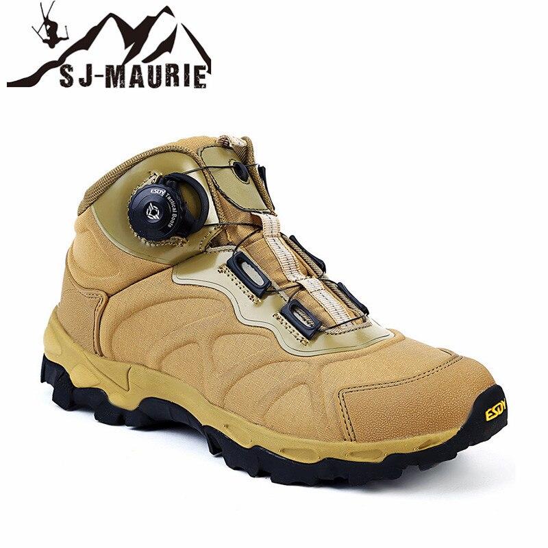 SJ-MAURIE Sports de plein air hommes chaussures de randonnée chaussures tactiques militaires antidérapant respirant imperméable bottes de randonnée chaussures de chasse