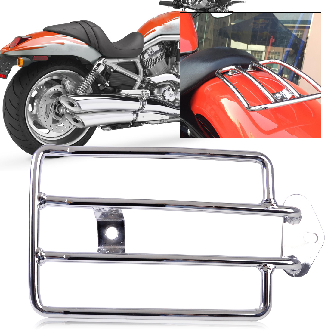 DWCX Motorcycle Silver Rear Seat Luggage Support Cargo Shelf Rack Fit for Harley Davidson Sportster 1200 Sportster 883 motorbike black solo seat luggage shelf frame rack for harley sportster xl 883 1200 85 03