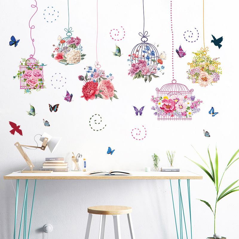 Colorful beautiful flowers cage wall stickers decal bird Beautiful wall stickers for living room
