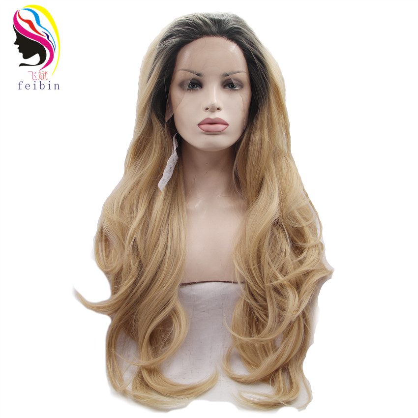 Feibin Nature Wave Synthetic Lace Front Wig For Women Ombre Color 24inches High Temperature Fiber 60cm Full Head Wig L28