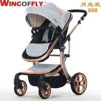 Роскошные Детские коляски Высокая Пейзаж Детские коляски для новорожденных сидеть и лежать четыре колеса