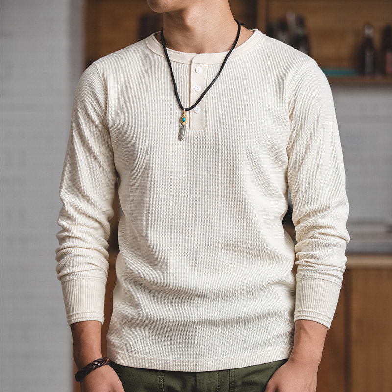 MADEN Mens Regular Fit Langarm Pullover Waffel Baumwolle Henley t-Shirts Creamy Weiß