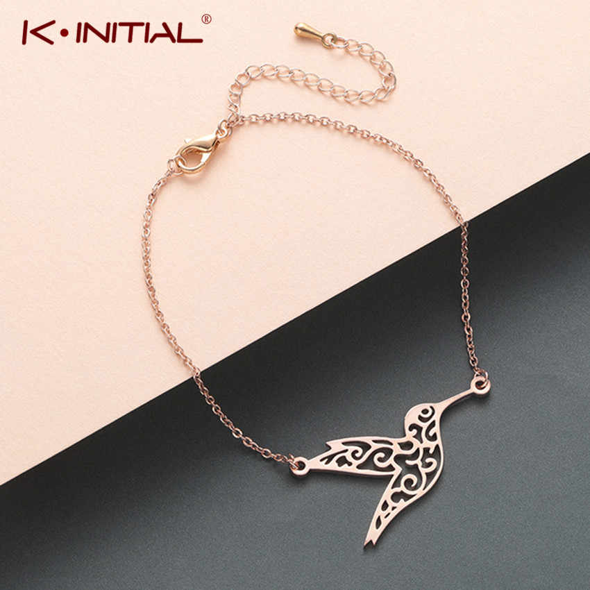Kinitial Stainless Steel Hollow Hummingbird Peace Bird Bracelet Wedding Gift Women Fashion Couple Bracelet Adjustabele Jewelry