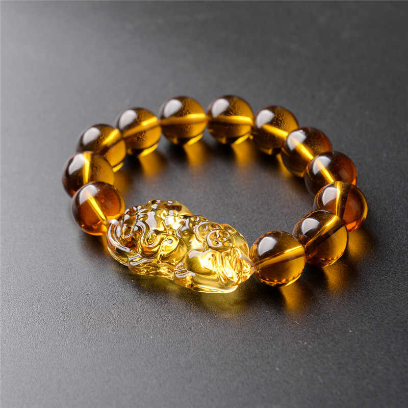 Wholesale price Fashion Feng Shui Yellow Pi Yao Pi Xiu Bracelet Bead for Wealth Luck 10mm