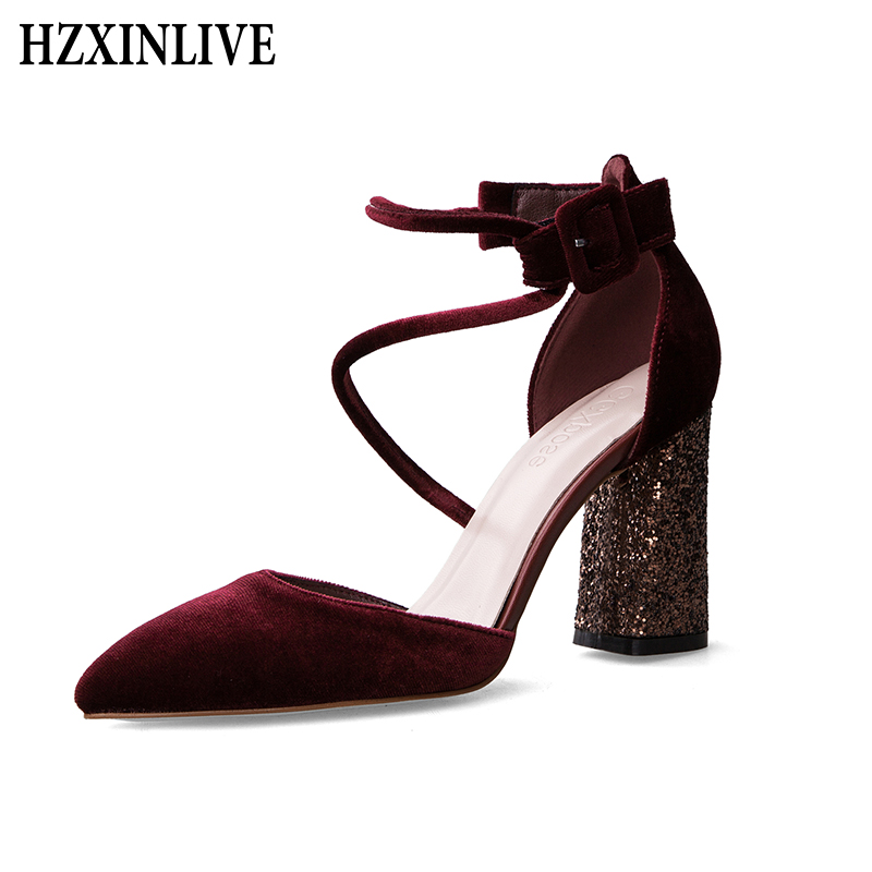HZXINLIVE Rome Women High Heel Sandals Shoes Bling Square Heels Pumps Gladiator Sandals Women Sandals Ladies Summer Party Shoes women chic champagne patent leather sandals square thick high heels pumps covered heel single strap gladiator shoes golden pumps