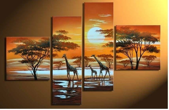Modern Wall Art Pictures 4 Pieces Animal Picture Hand Painted Oil ...