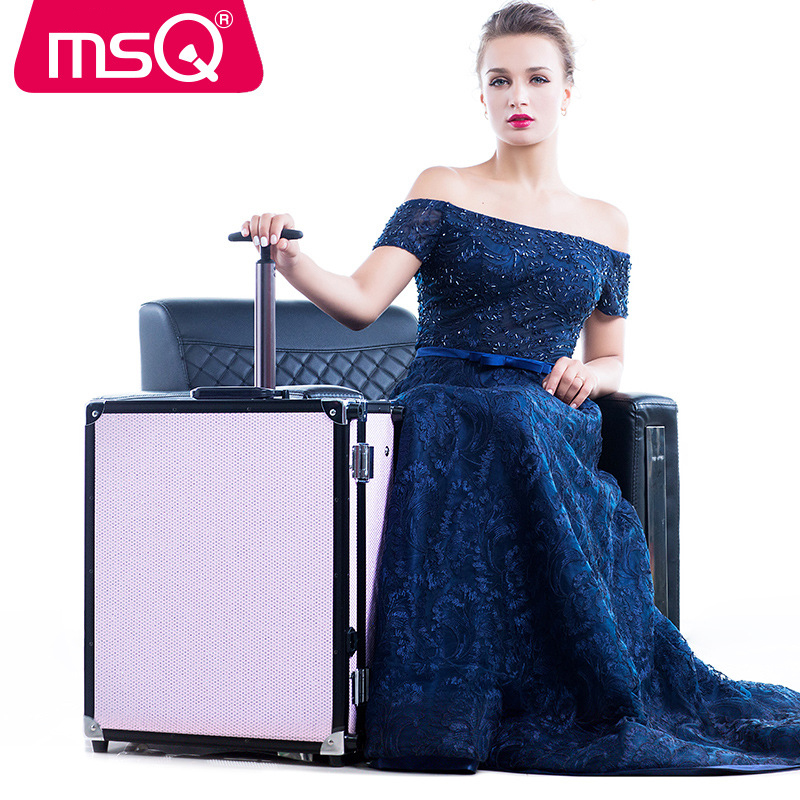 MSQ Make Up Tools for Handle Trolley Large Professional Cosmetic Case with A Drill Multi-layer Stent Drawstring Bar LDE Lamp professional black multilayer trolley make up tattoo case large capacity with mirror storage box cleaning tools tattoo supplies