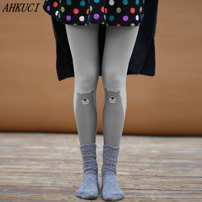 3D Printed Pantyhose Elastic Velvet Tights Women Harajuku cat tights female medias party pantys for girl Lolita pantyhoses