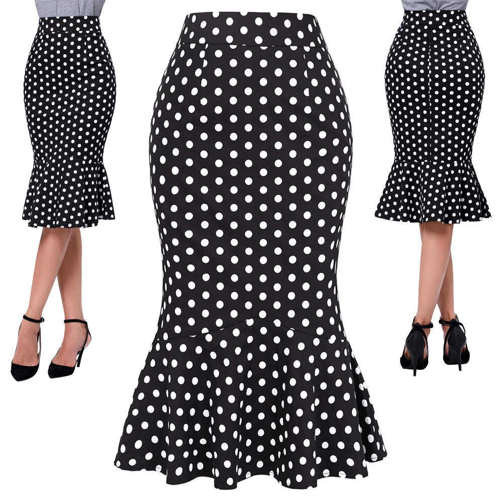 Женские юбки больших размеров, юбка в горошек, обтягивающие, с эластичным поясом, эластичные женские юбки