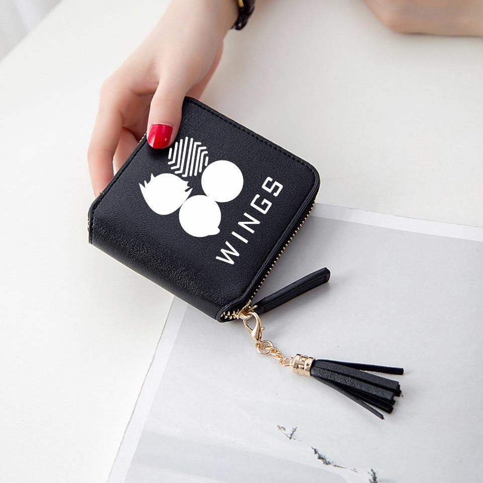2019 New Korean Kpop Style Women Wallets Short Zipper Card Wallet Girl Wallets Purses Bangtan Boys Tassel Mini Print Kpop Bags