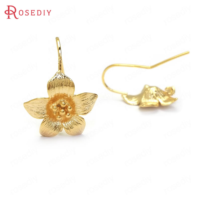 (36022)10PCS Height 20MM Flower 16x14MM 24K Gold Color Brass and Zircon Flower Earring Hook High Quality Diy Jewelry Accessories