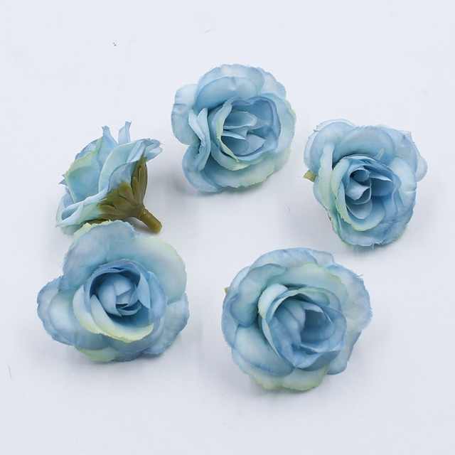 10 pcs 4cm Silk Rose Artificial Flower Wedding Leaves Decoration Items Wreath DIY Handicraft Flowers Fake Simulation Cheap 1