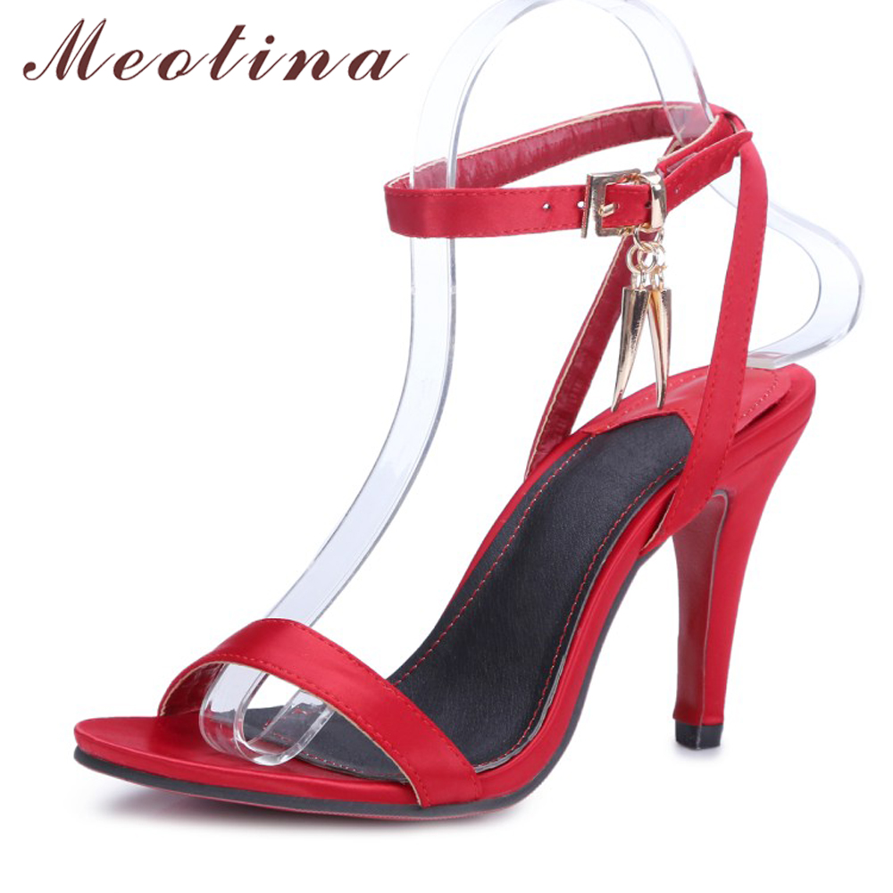 Meotina Women Shoes Sandals Summer High Heels Sandals Ankle Strap High Heel Party Weeding Shoes Women Sliver Red Big Size 9 10 2017 summer hot selling red balck suede leather t strap high heel sandals charming detailed studs sequined high heel sandals