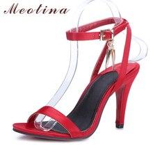 Meotina/Женская обувь сандалии Летние сандалии на высоком каблуке Ремешок на щиколотке на высоком каблуке для вечеринок Свадебная обувь Женщины Щепка красный большой размер (9, 10)