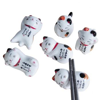 5Pcs Lucky cat Chopsticks Holder Japanese Ceramic Chopsticks Care Ceramic Cute Lucky Home Ceramic Decoration