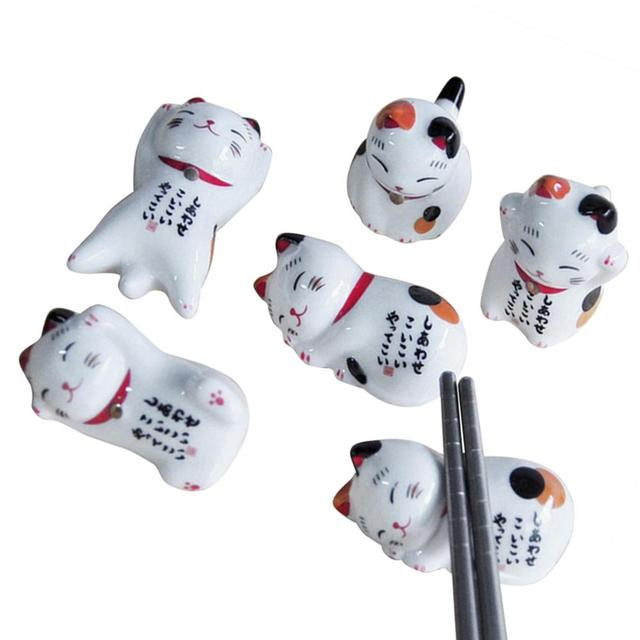 5Pcs Lucky cat Chopsticks Holder Japanese Ceramic Chopsticks Care Ceramic Cute Lucky Home Ceramic Decoration