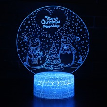 3D illusion Visual Night Light 7 Colors Change LED Desk Light USB Table Lamp Bedroom Merry Christmas Snowman Decoration Gift цена в Москве и Питере