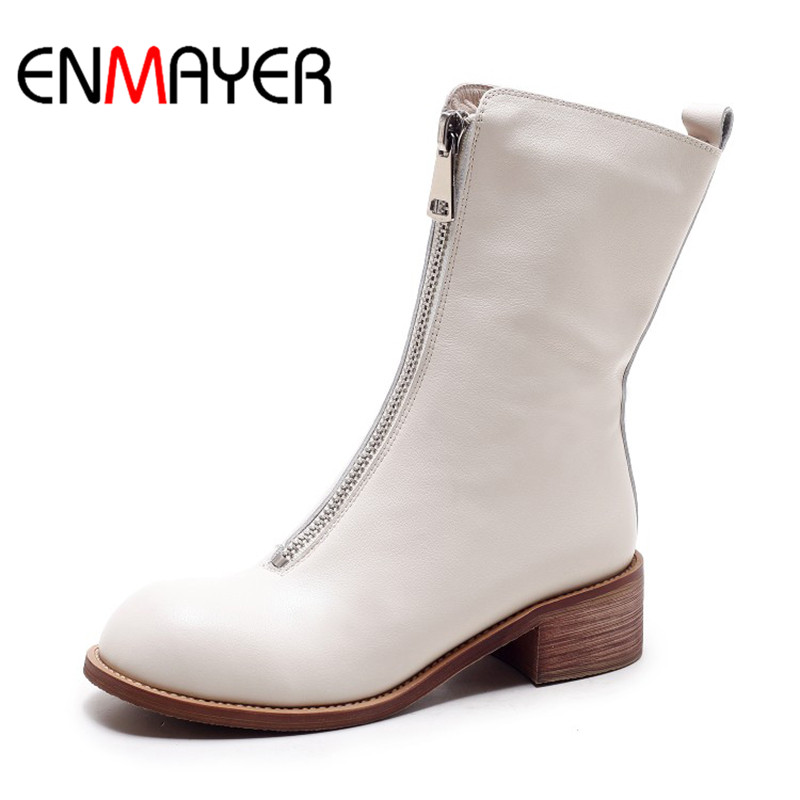 ENMAYER Fashion Women Mid-Calf Boots Round Toe Shoes Square Heel Spring Boots Leather Shoes Black White Color Ladies Boots Woman 64115