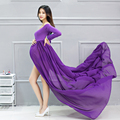 2017New Maternity Dress for Photo Shoot Long Sleeve Maternity Gown SPLIT FRONT Maternity Gown Maxi Pregnant gown for photo shoot