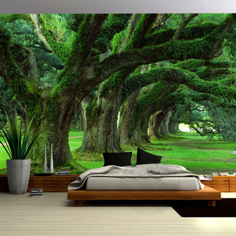 Spatial Extension Personality Wall Mural Wallpaper Green Tree Path Landscape Photo Wall Papers Living Room Restaurant Home Decor