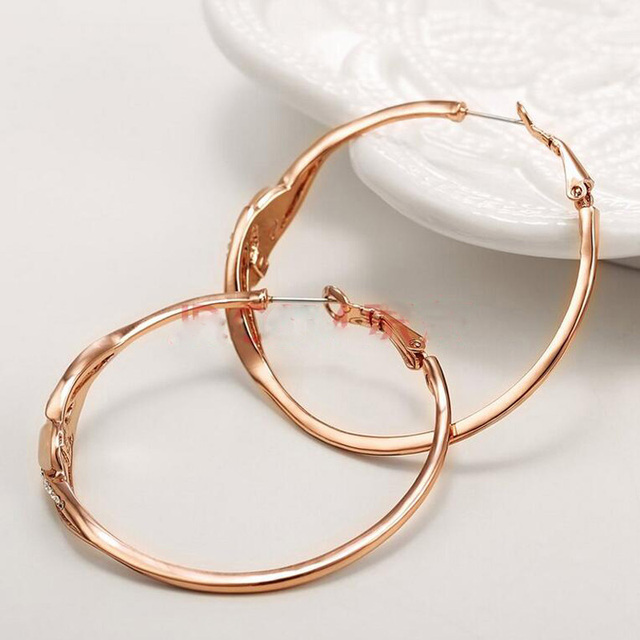 Rose Gold Plated White Opal Rhinestone Wedding  Hoop Earrings Vintage Fashion Women New Brand Antique Fashion Jewelry Wholesale