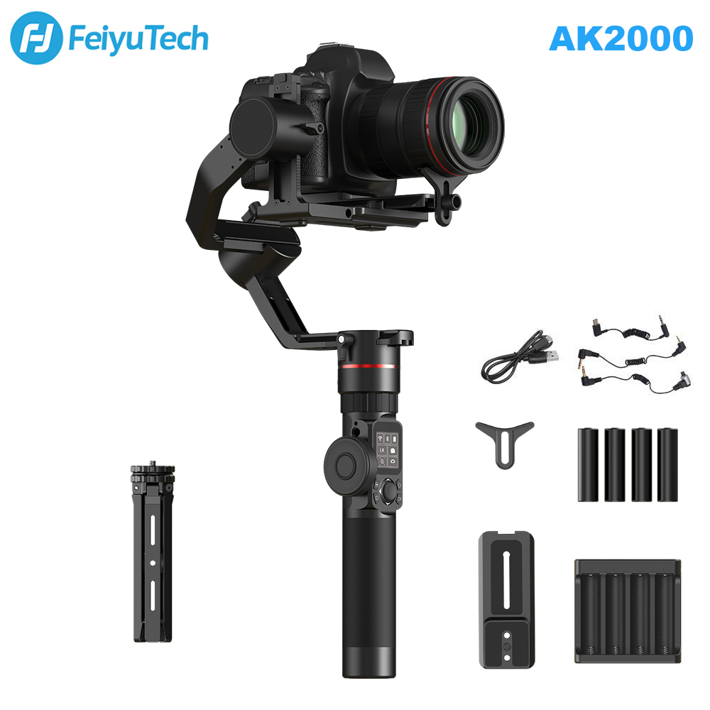 где купить FeiyuTech Feiyu AK2000 3-Axis Camera Stabilizer Gimbal with Focus Ring for Sony Canon 5D Panasonic GH5 Nikon D850 2.8kg Payload дешево
