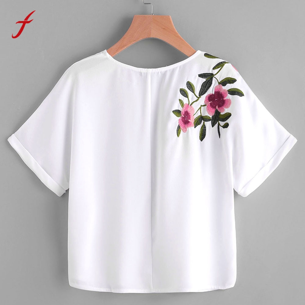 Women flower embroidery shirt short sleeve t shirts bts t for How to embroider t shirts