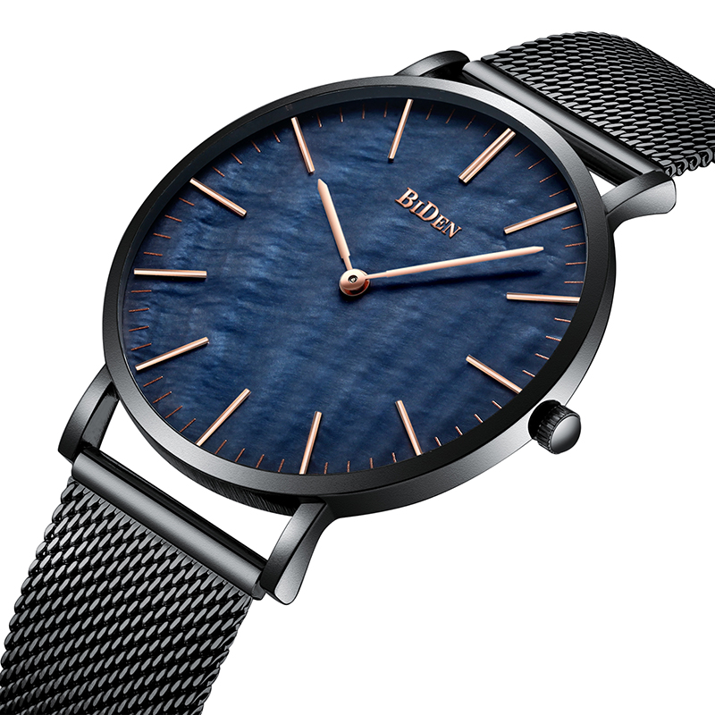 Luxury Top Brand Mens Watches Fashion Style Royal Blue Dial Comfortable Steel Mesh Band Waterproof Sports Wrist Watch Mens Clock fashion leisure sport automatic mechanical wrist watches for mens clock luxury brand leather band skeleton dial steel mens watch