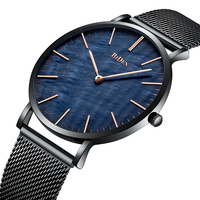 Luxury Top Brand Mens Watches Fashion Style Royal Blue Dial Comfortable Steel Mesh Band Waterproof Sports Wrist Watch Mens Clock
